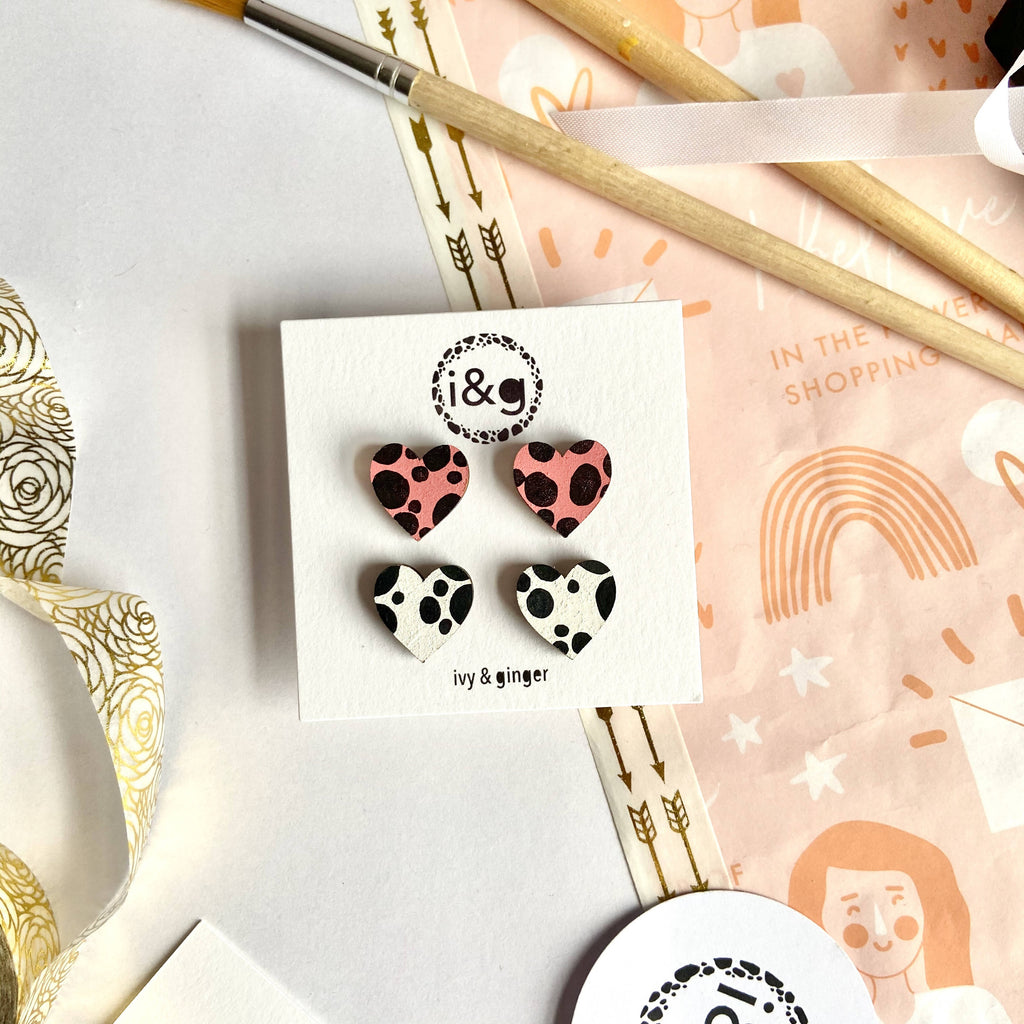 Mini Dalmatian Hearts Wooden Stud Earrings Set of Two