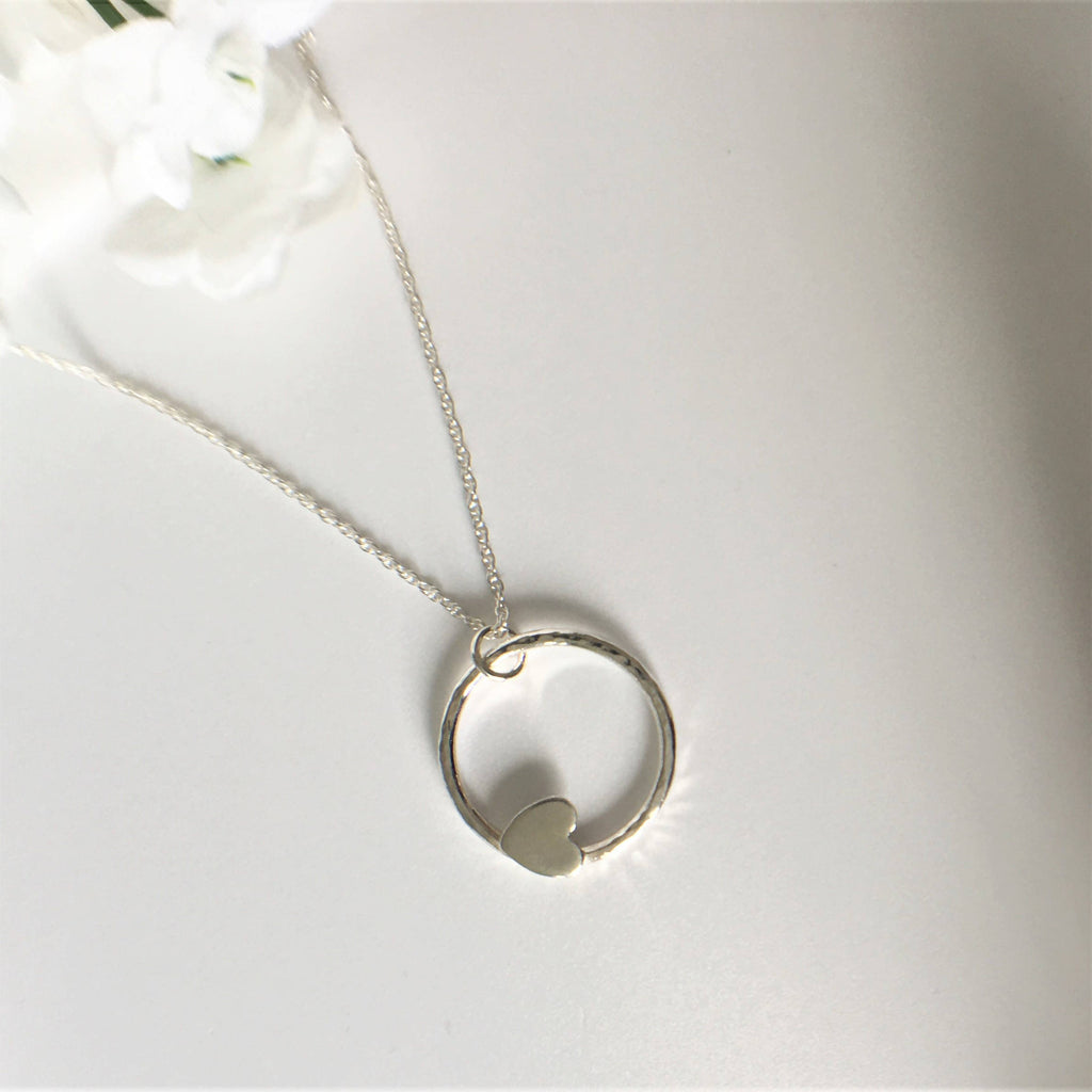 Eco Sterling Silver Hammered Circle with Heart necklace
