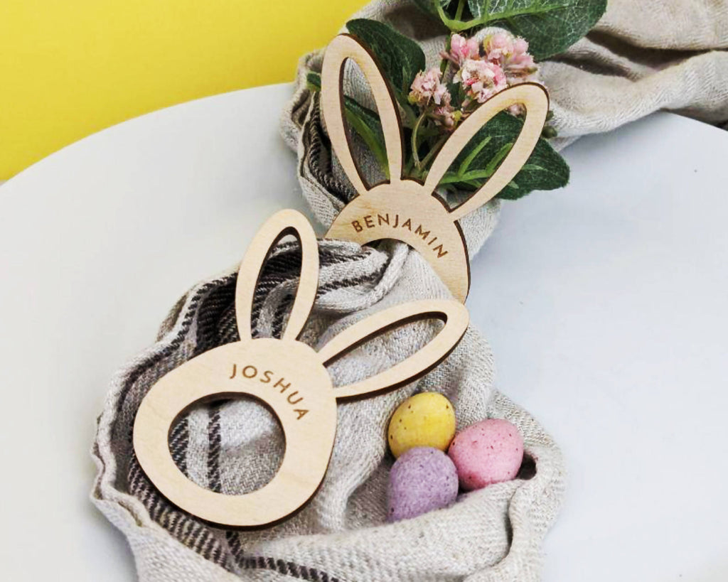 Personalised Easter Table Decoration, bunny napkin ring