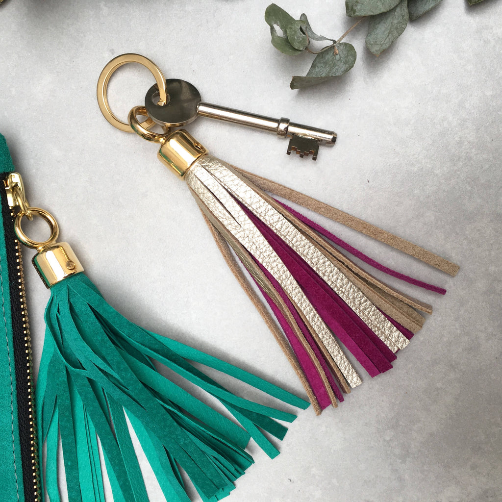 Swinbrook Two-tone Leather Tassel Keyring