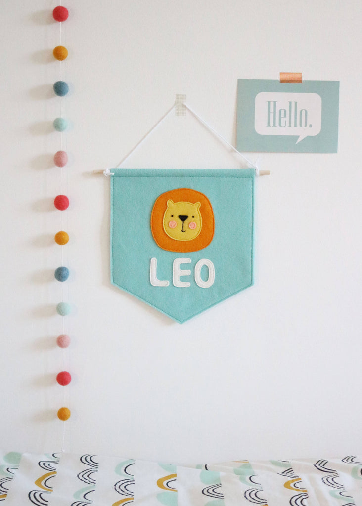 Personalised Name Lion Felt Banner