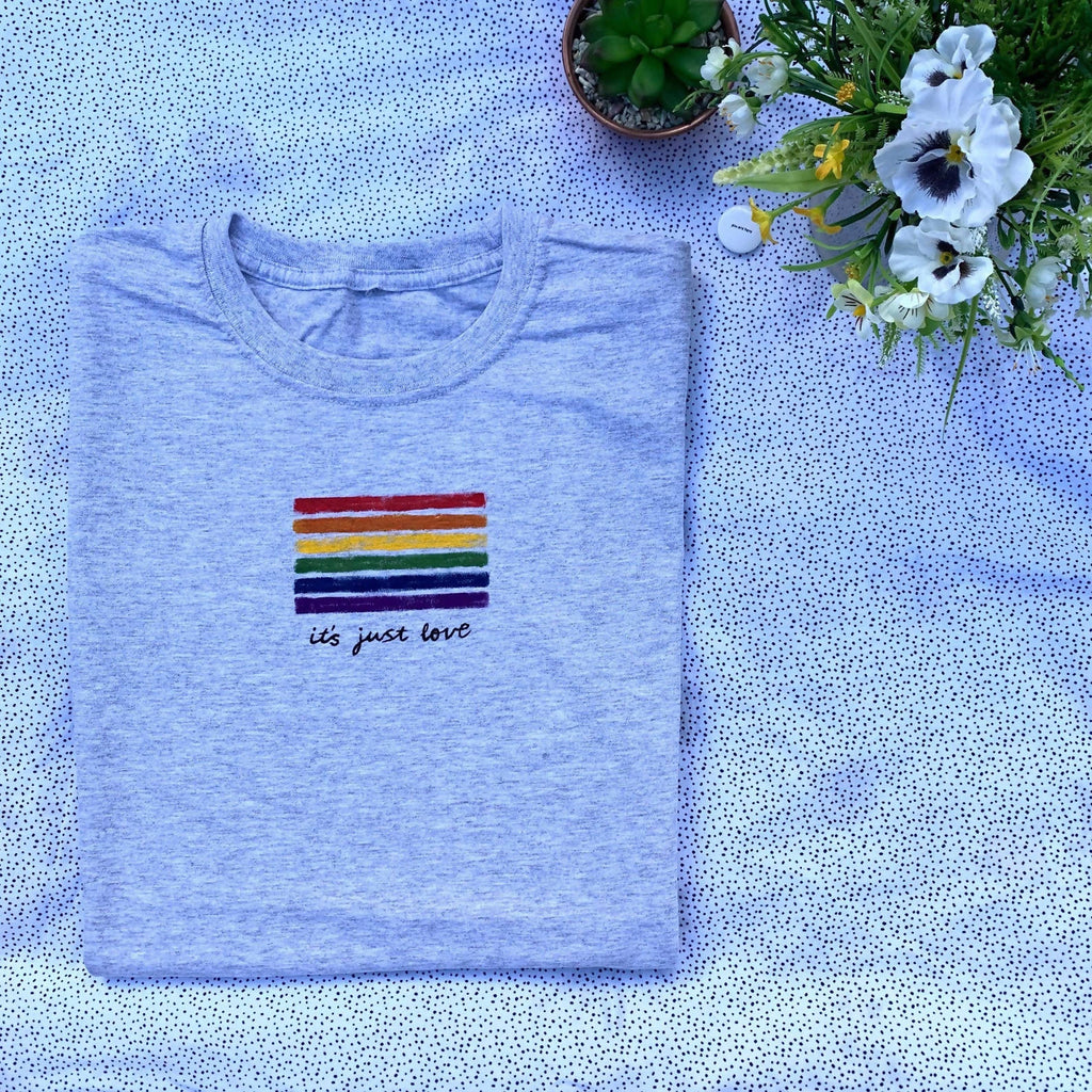 LGBTQ+ Rainbow Pride flag 'it's just love' Valentines Boyfriend / Girlfriend Gift - Hand painted Organic Cotton Tshirt