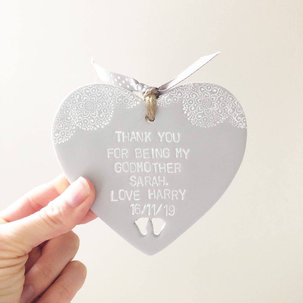 Personalised Godparent heart gift