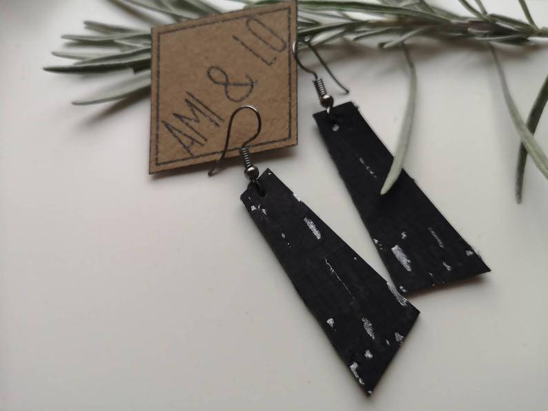 Black and silver cork leather bar earrings by Ami and Lo