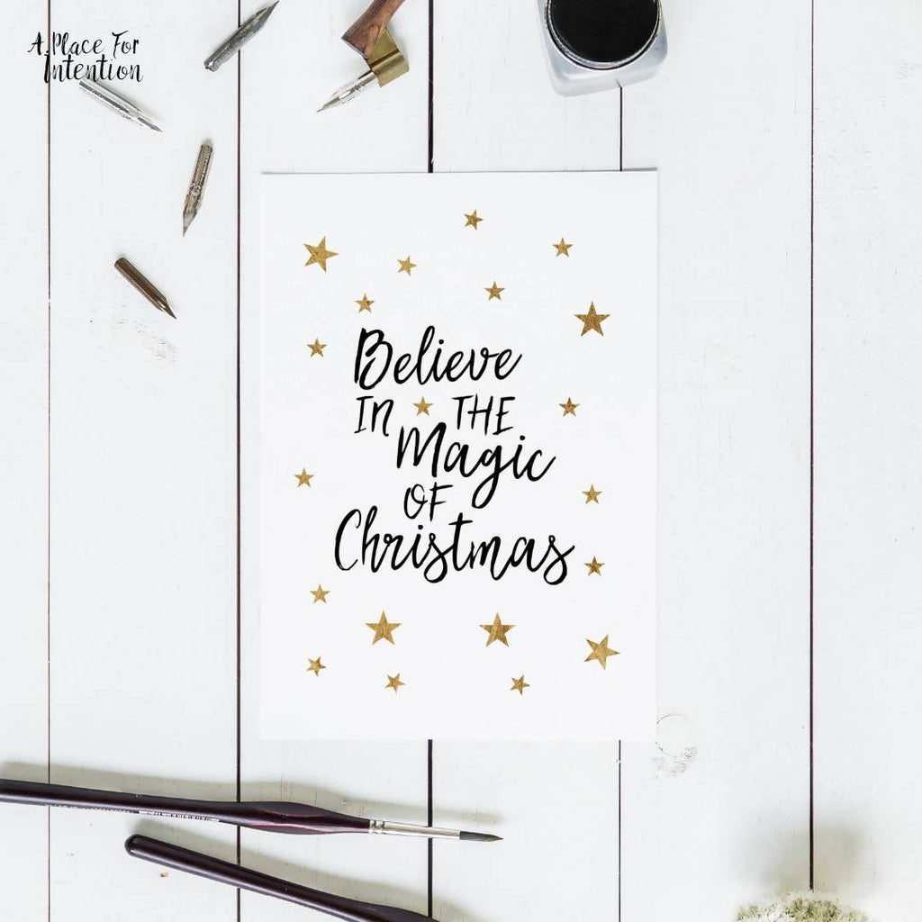 Believe in the Magic Of Christmas Star Christmas Quote Card