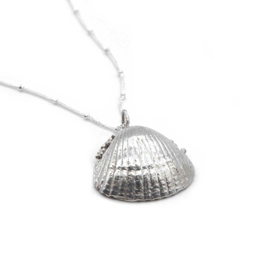 Large Silver Seashell Necklace