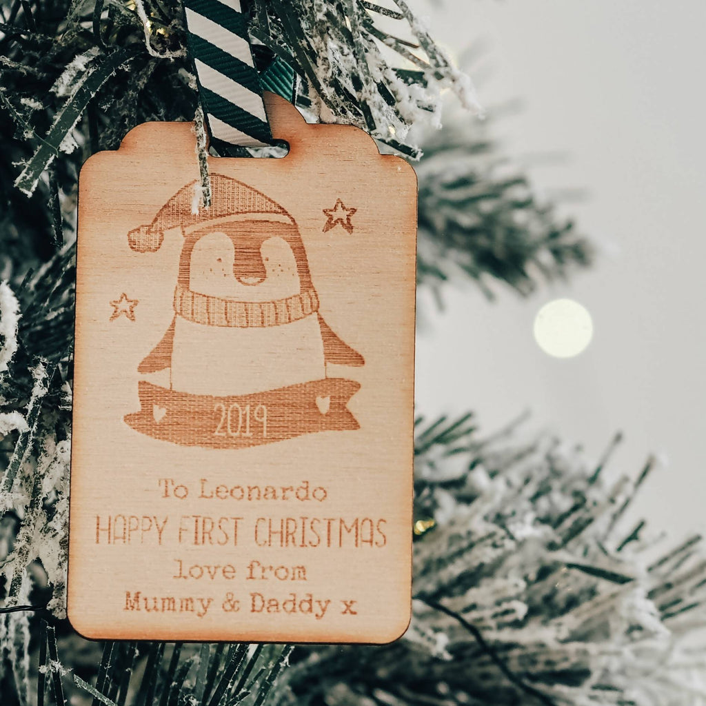 Wooden Christmas Present Gift Tag Keepsake with Penguin Design