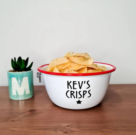 PERSONALISED CRISPS BOWL RED ENAMEL - LARGE