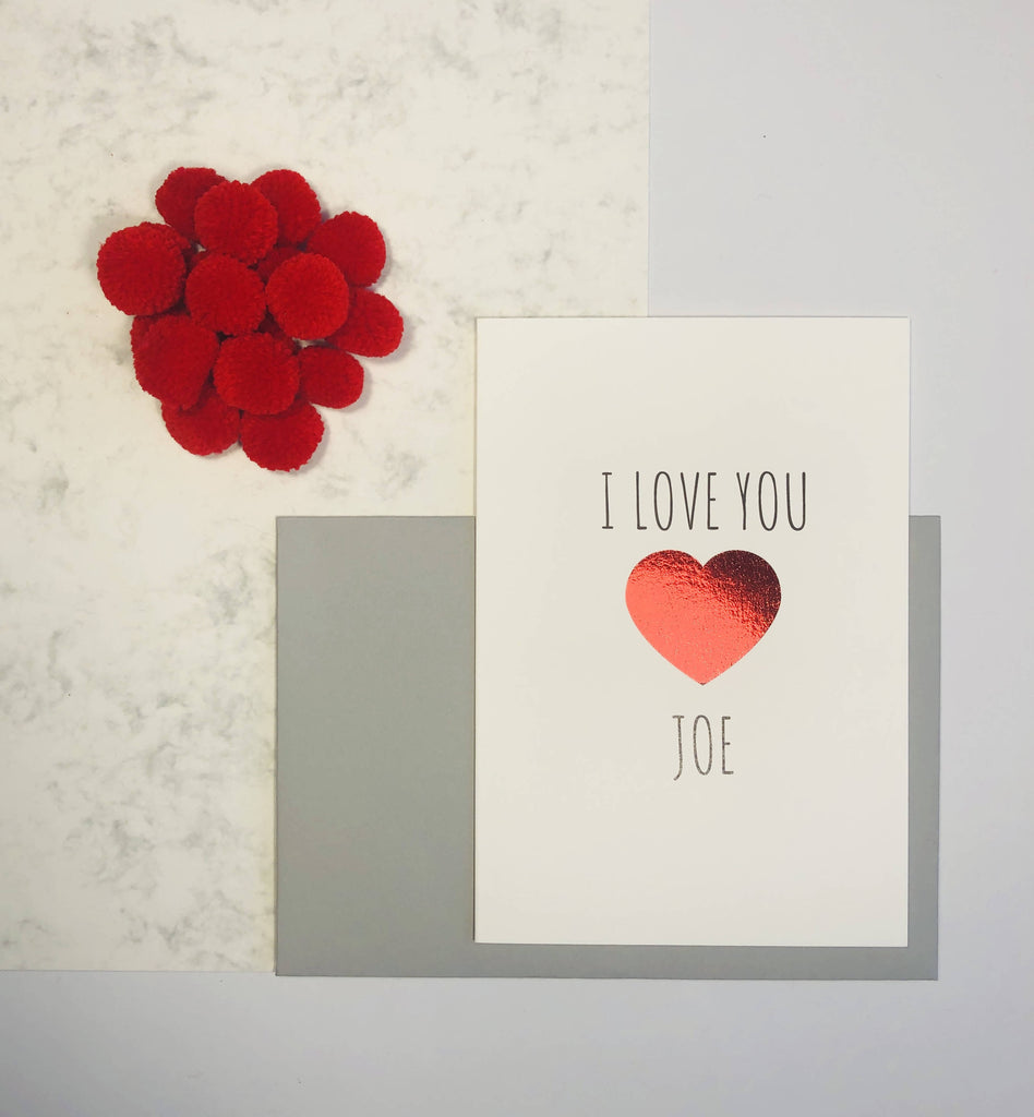 Personalised I Love You Valentine's Day card