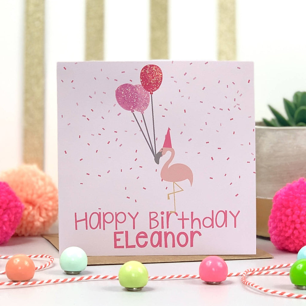 Confetti Flamingo Birthday Card - PERSONALISE ME!