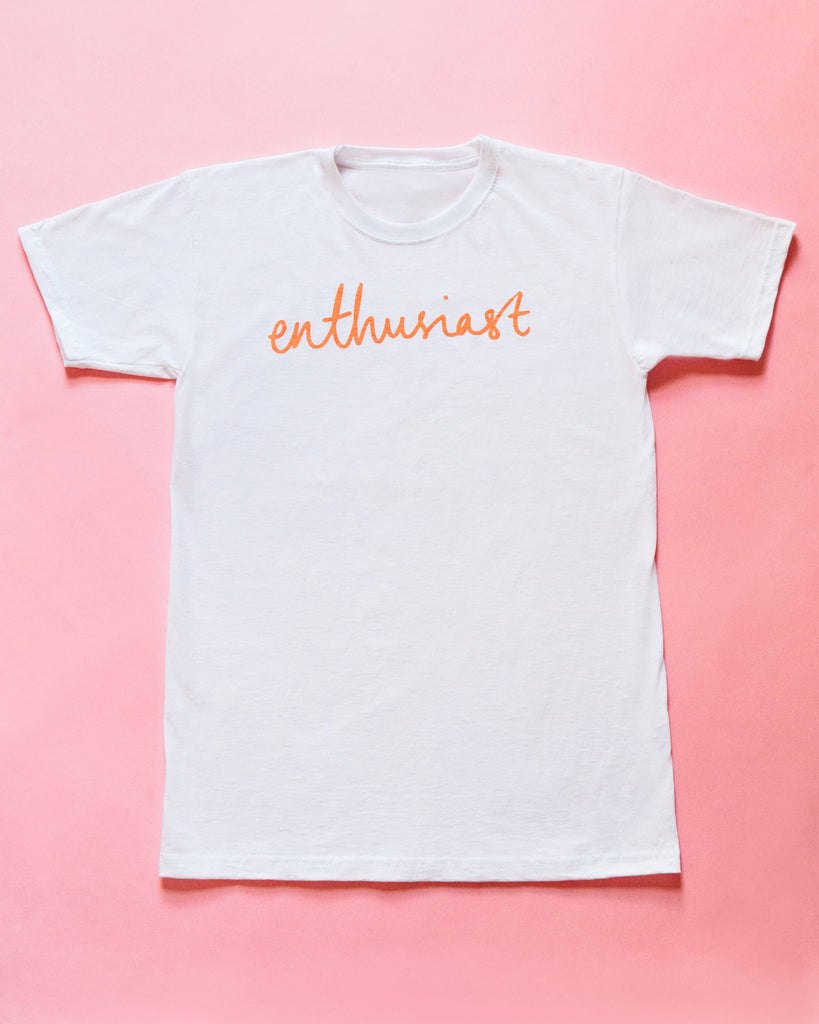 The Enthusiast t-shirt, pink on white