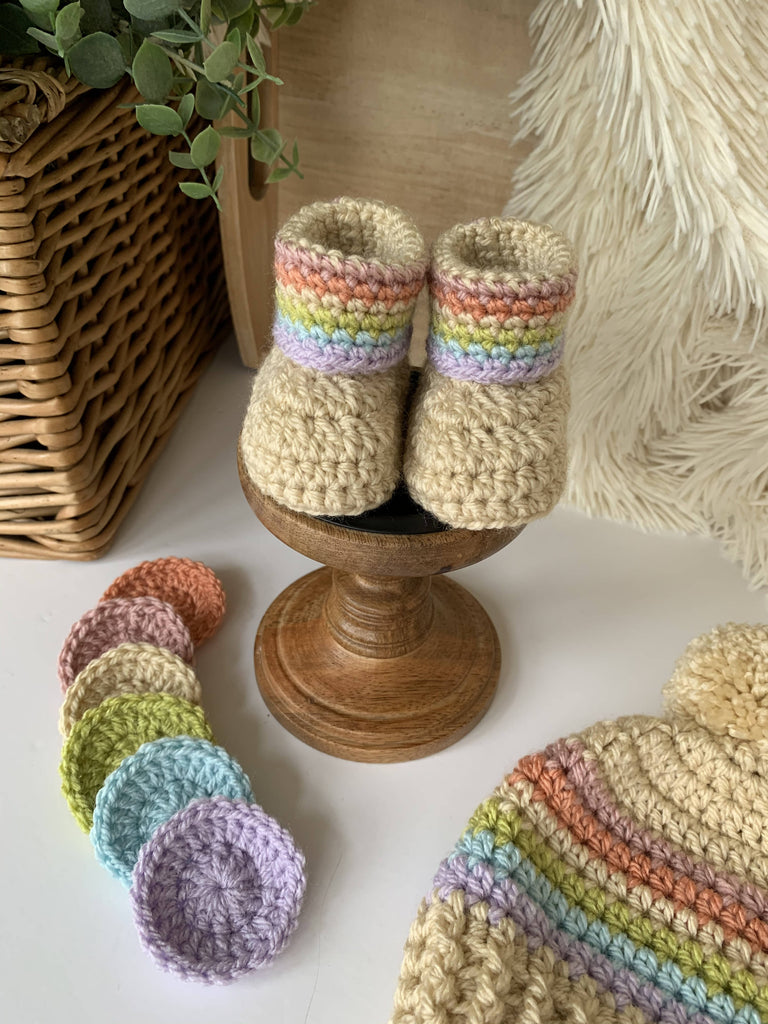Child/Baby Vintage Rainbow Beanie Hat and Booties Set