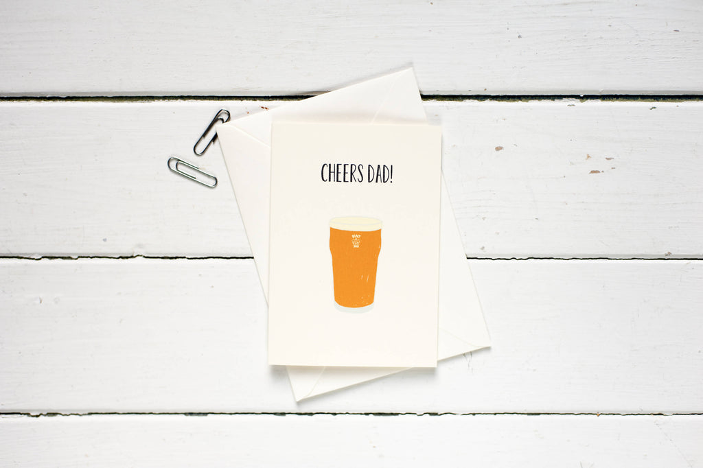 Cheers Dad! Pint glass-Father's day greetings card