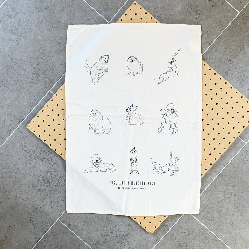 Positively Naughty Dogs Tea Towel