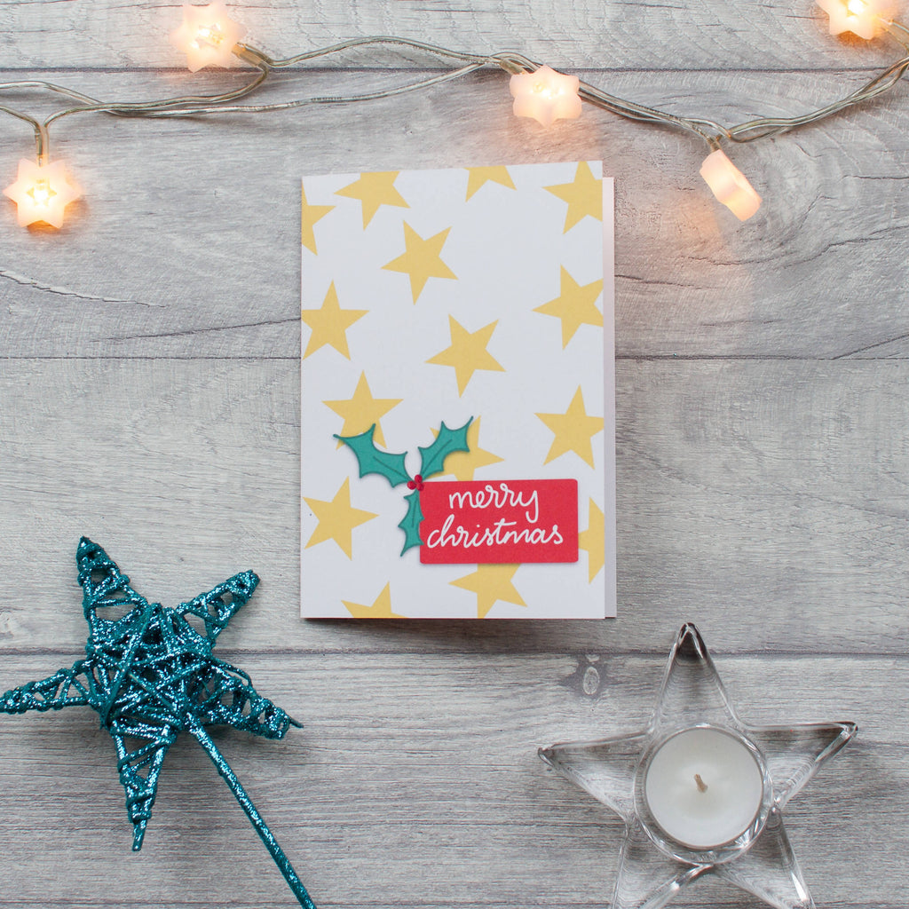 Merry Christmas stars card individual and 10 pack