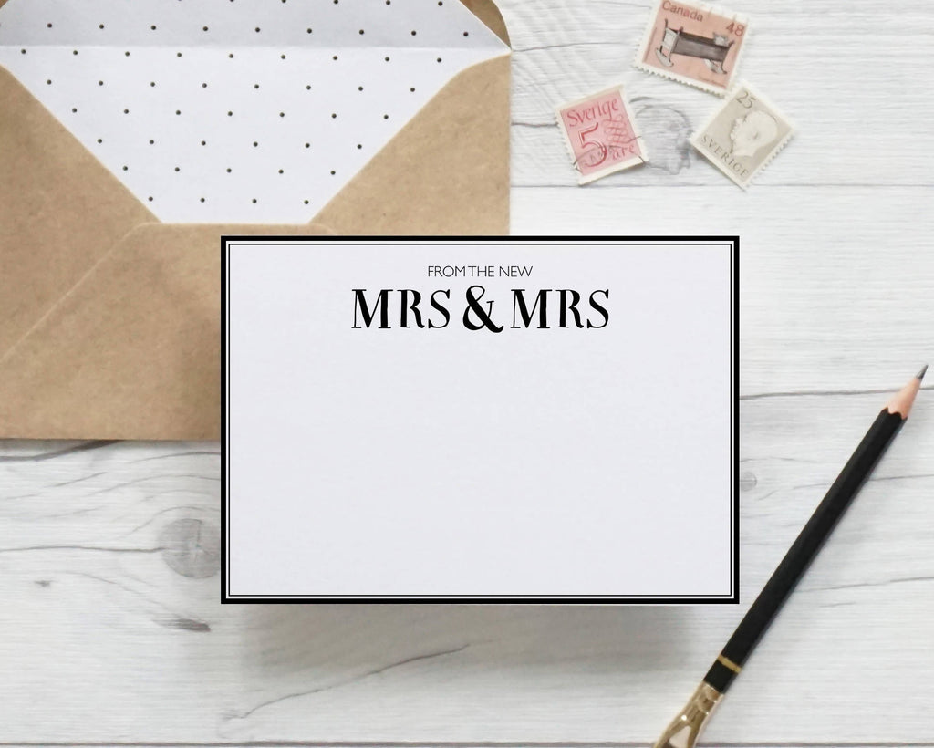 From the New Mrs & Mrs, hand lettered notecards