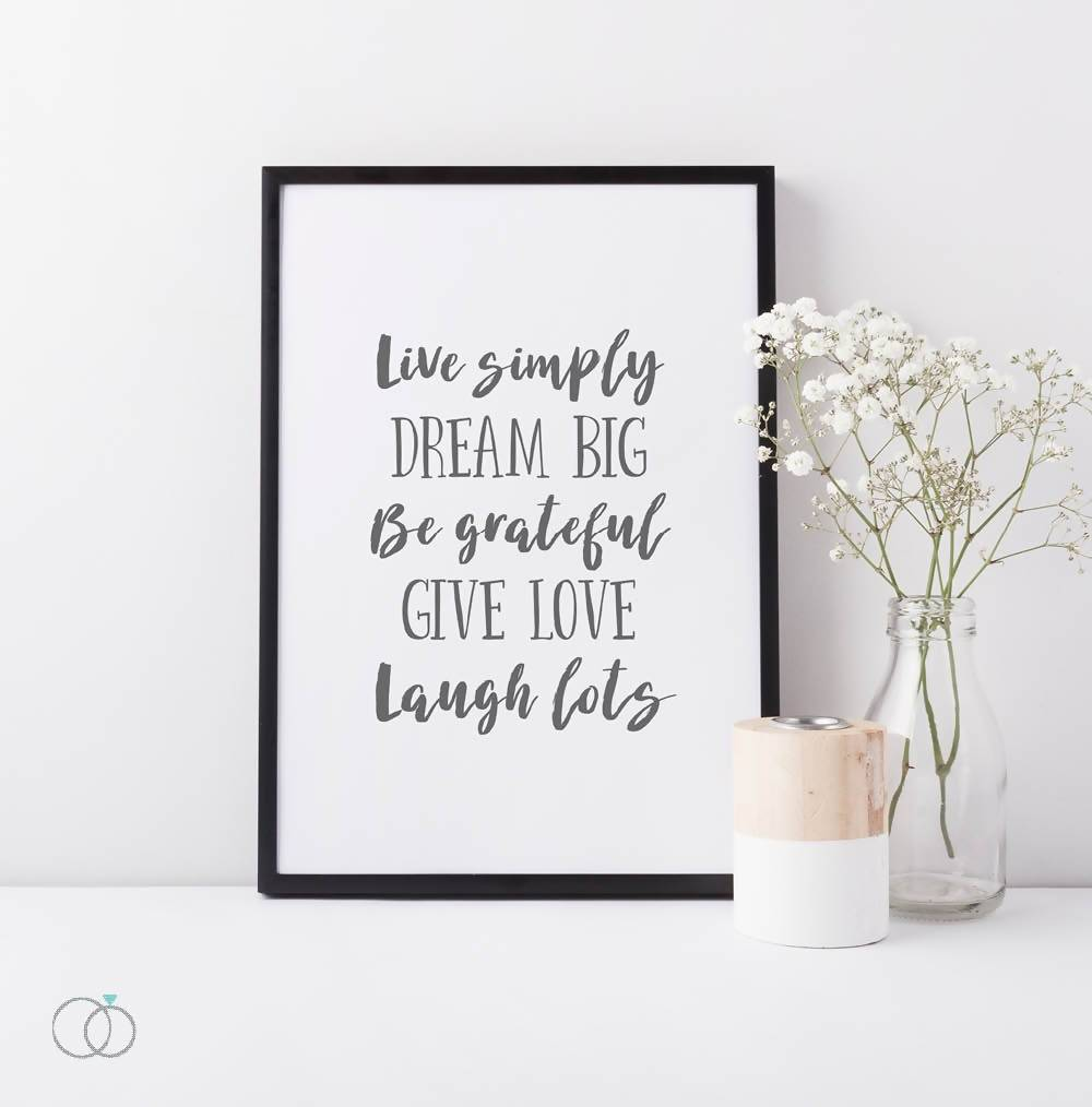 Live simply laugh lots life quote print  - Inspirational Quote Art - LoveLi