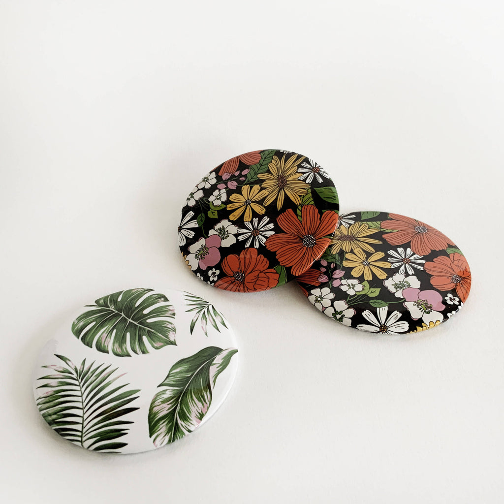 Retro Florals Pocket Mirror | Makeup Mirror | Vanity Mirror | Stocking Filler