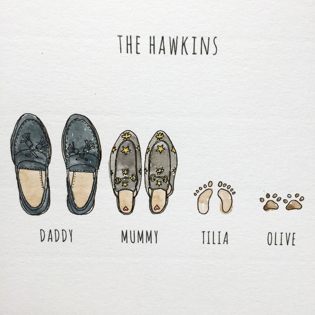 Custom family feet portrait. Personalised, bespoke