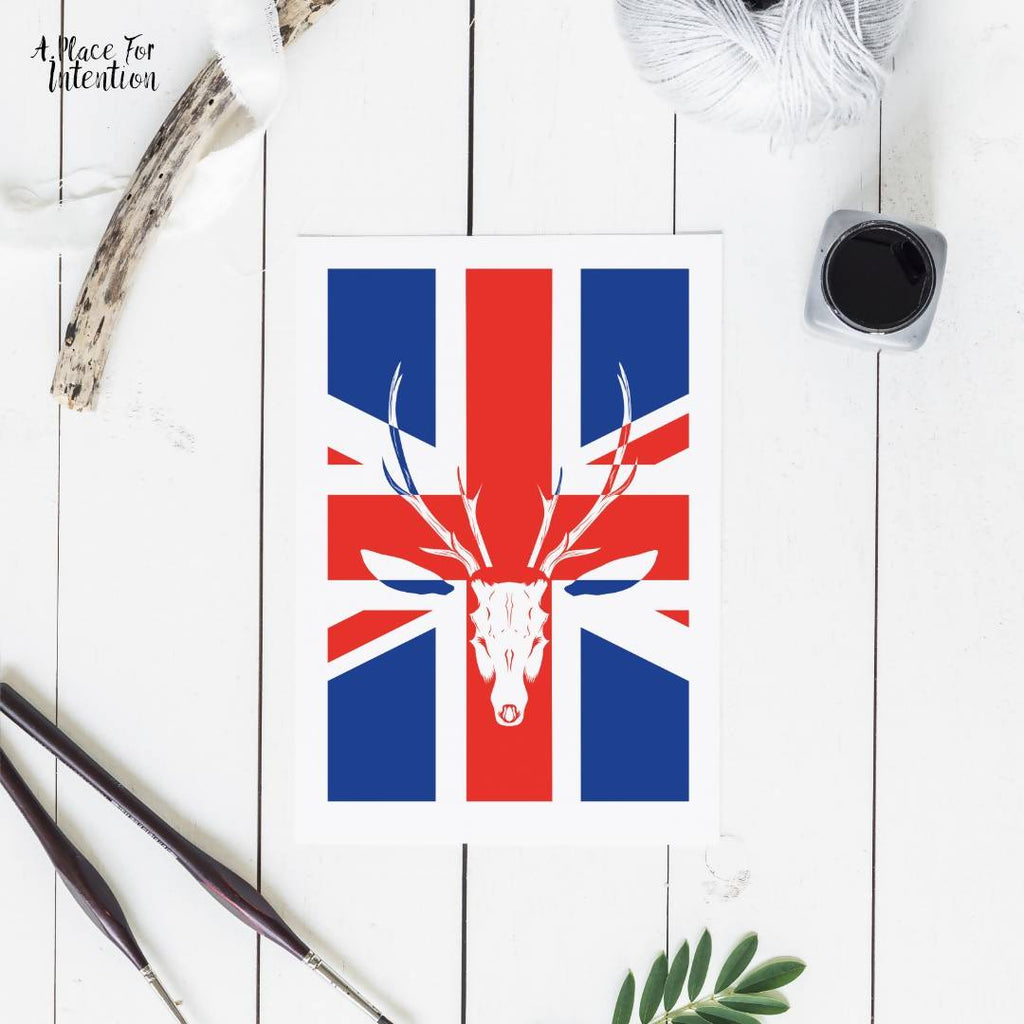 Union Jack Stag Illustration Card