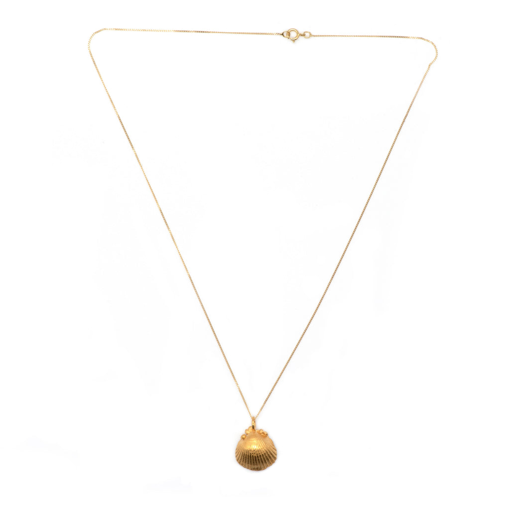 dainty gold seashell necklace