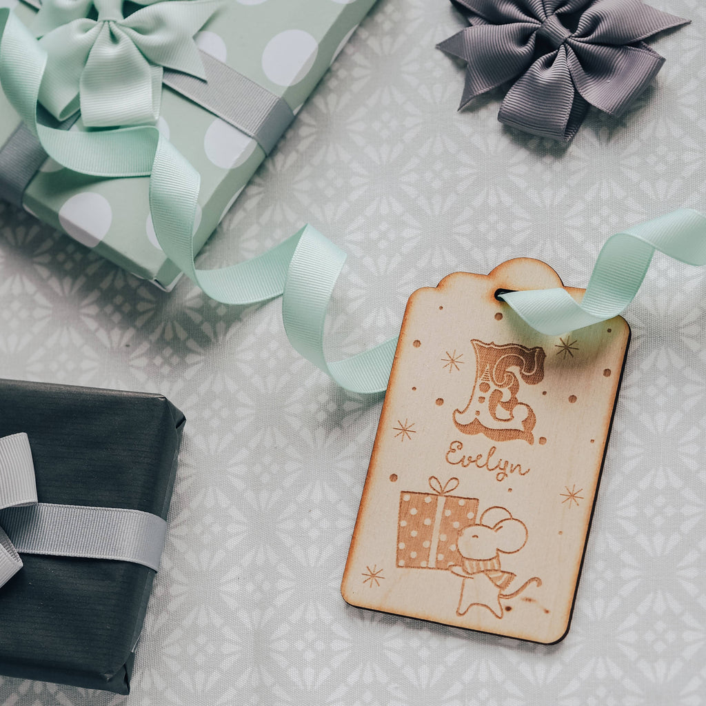 Christmas Tree Decoration / Gift Tag with Initial, Name and Mouse
