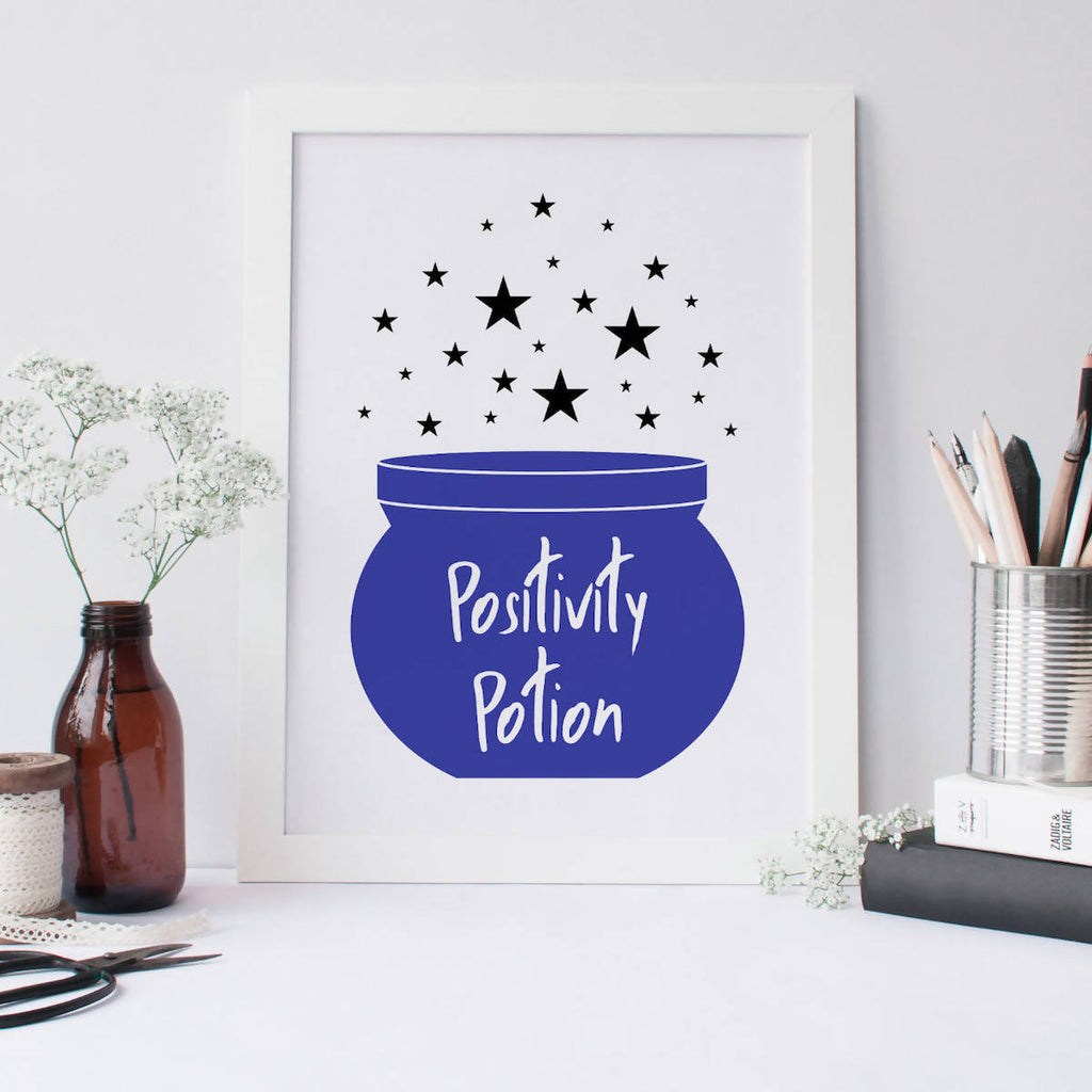 Positivity Potion Cauldron Wall Art Print