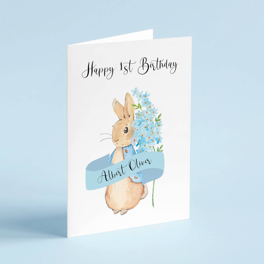 Sweet Bunny Birthday Card (Blue) - Personalised - Eco-Friendly