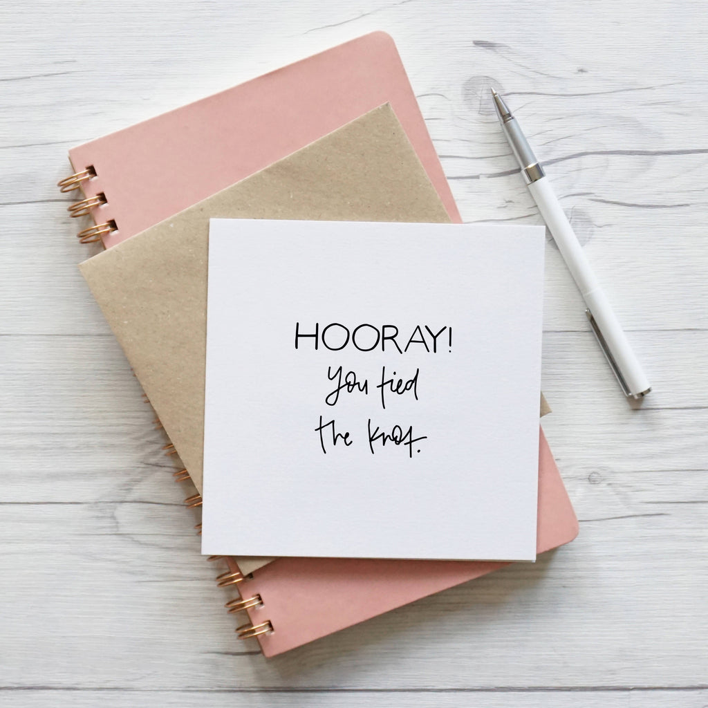 Hooray You Tied The Knot, blank wedding card