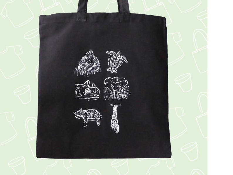 Black & White Endangered Species 2019 - Hand painted Cotton Tote Eco Friendly Everyday Sustainable Shopper Bag