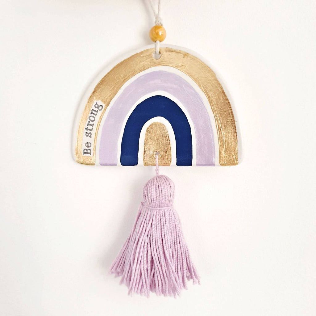 'Be strong' rainbow wall hanging