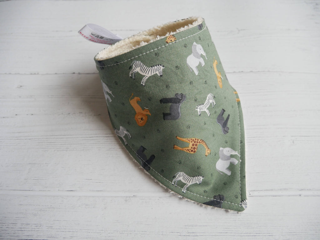 African safari animals themed bamboo baby bib