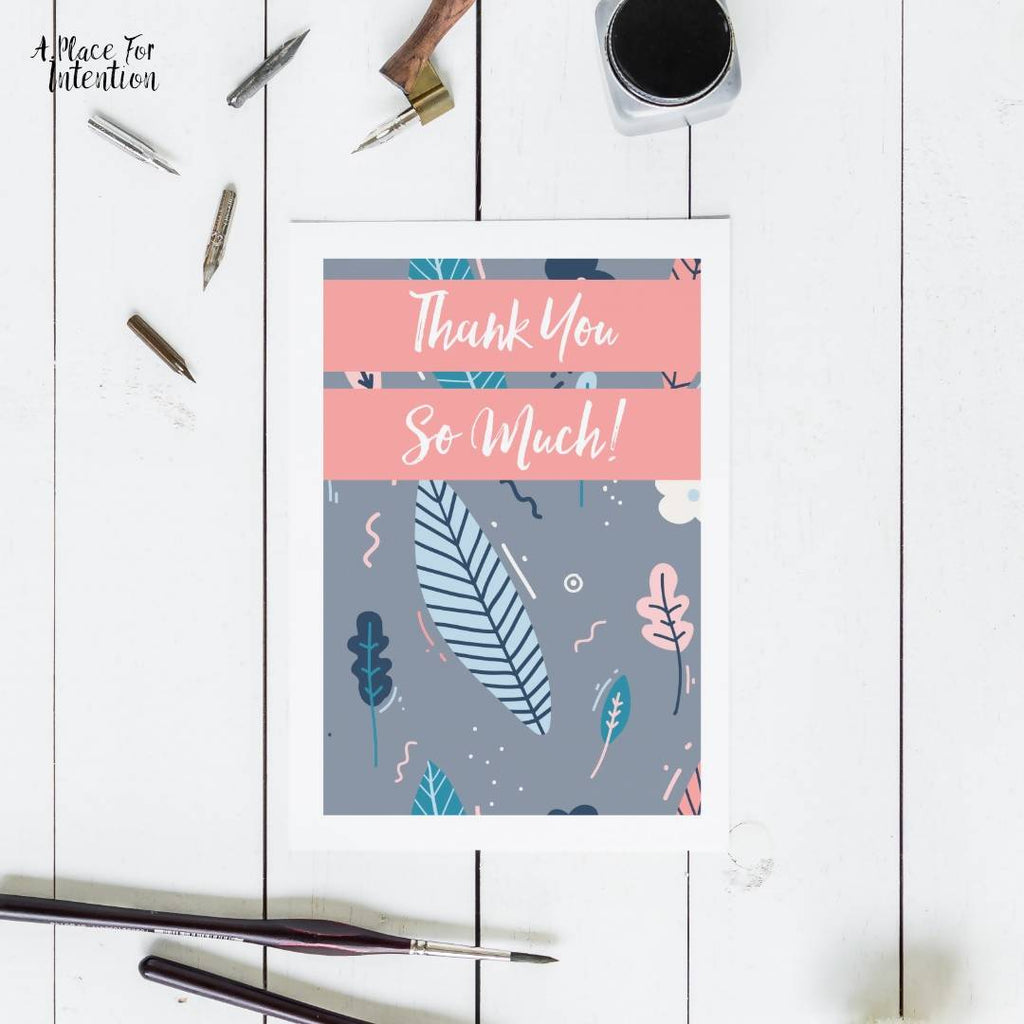 Grey Leaves & Petals Thank You Card