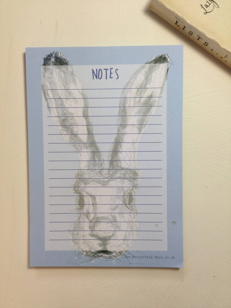 Blue Proverbial Hare Notepad