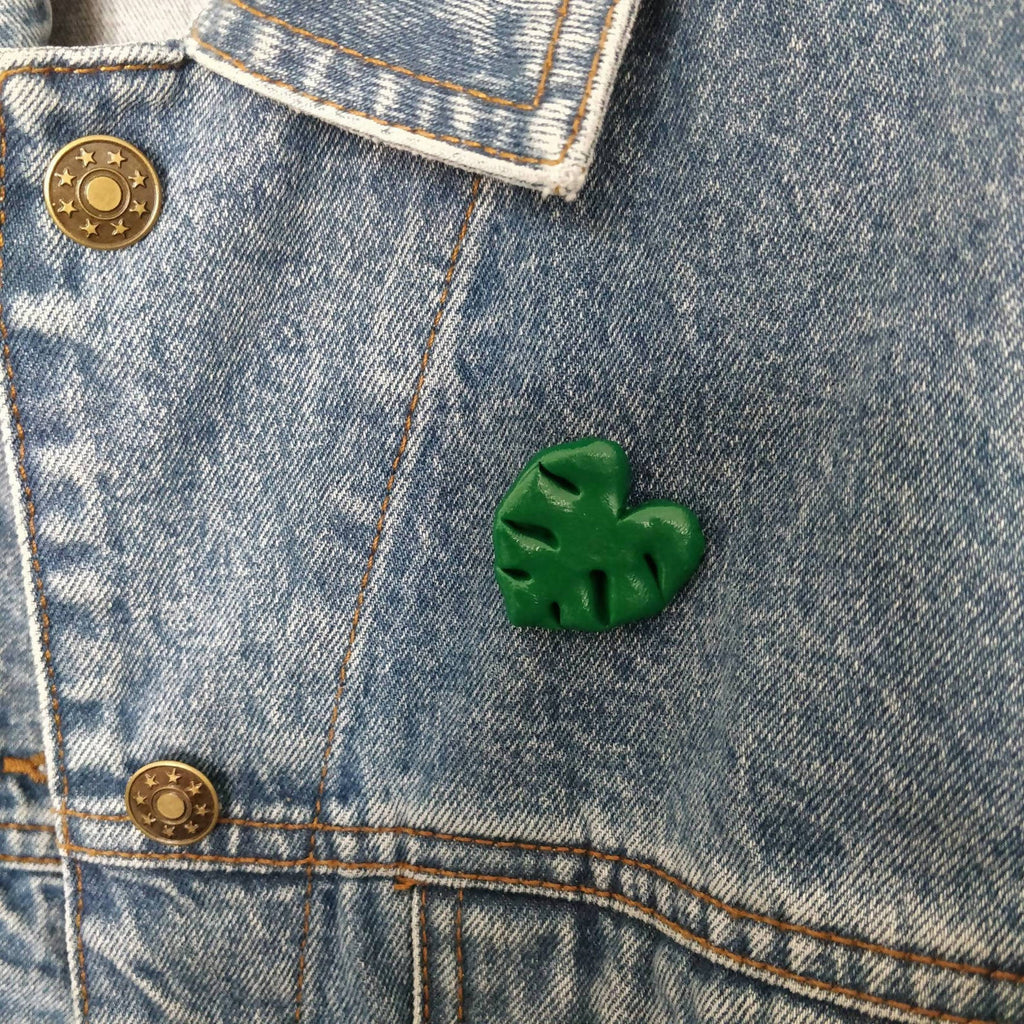 Monstera Cheese Plant Botanical Leaf Polymer Clay Pin Badge