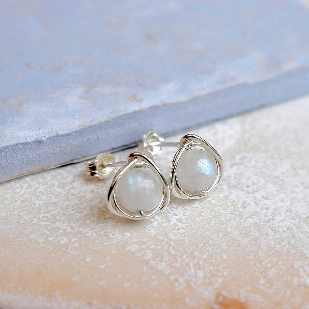 Rainbow Moonstone Silver Stud Earrings