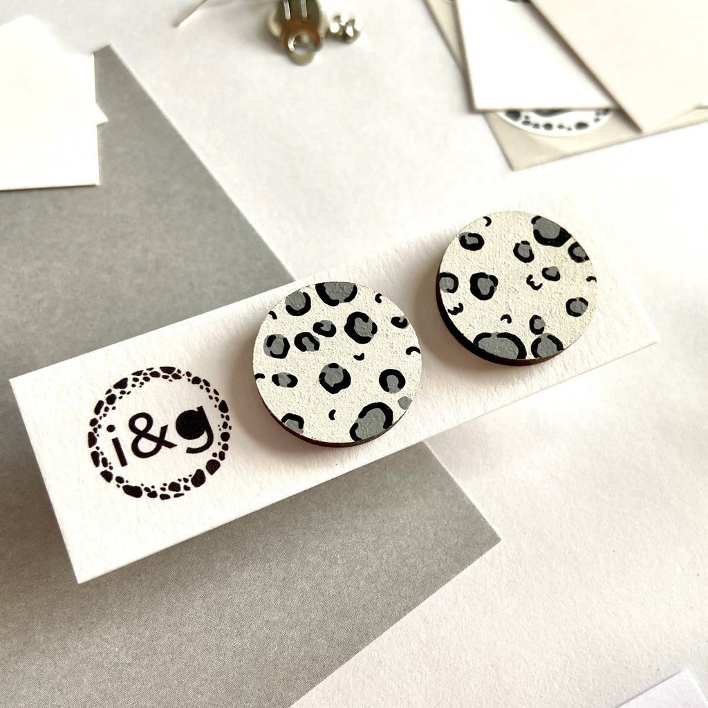 White and Grey Leopard Print Wooden Studs Earrings