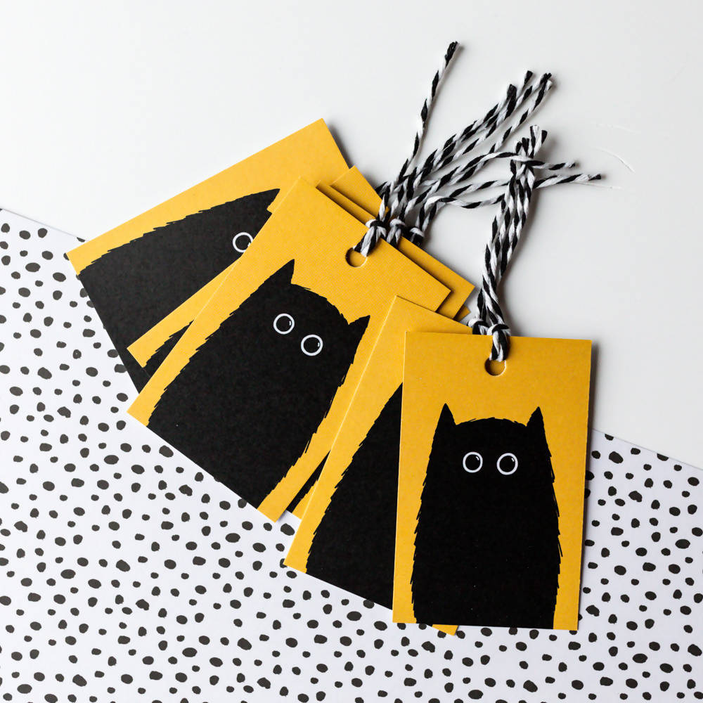 Black Cat Gift Tags, With Recycled Card