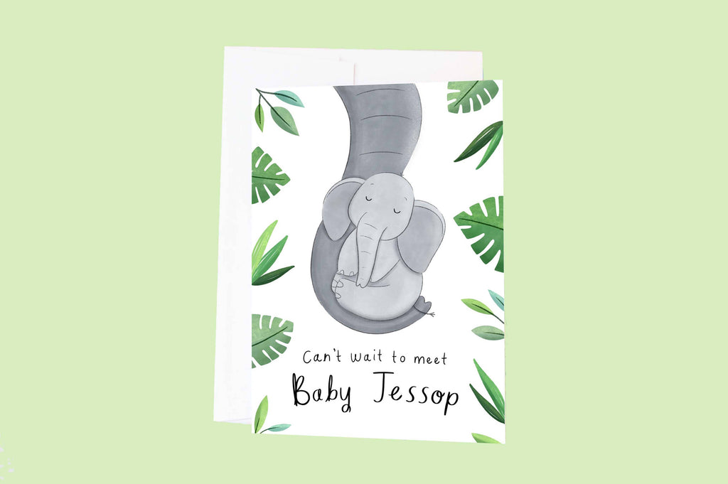 Personalised Baby Shower Elephant Greeting Card