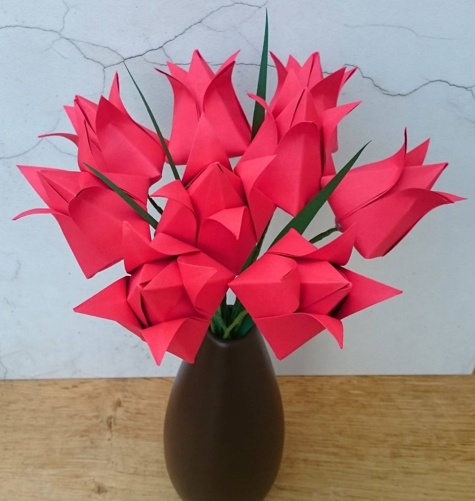 Bouquet of red origami tulips