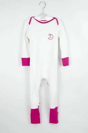 PINK MISCHIEFSUIT - ZIPPED ORGANIC COTTON BABYGROW WITH FOLDABLE FEET