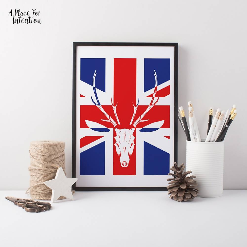Union Jack Stag Illustration Art Print