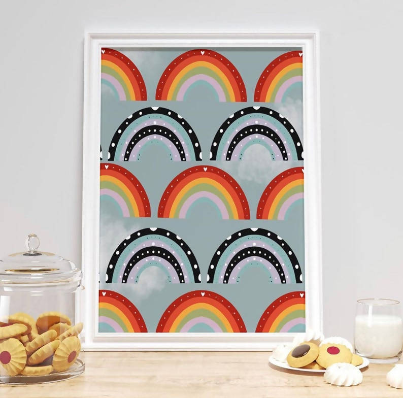 Set of 2 - Sunshine and Rainbows Print / Weather Print / Children's Print/ Rainbow Prints / Nursery Prints / Home Prints