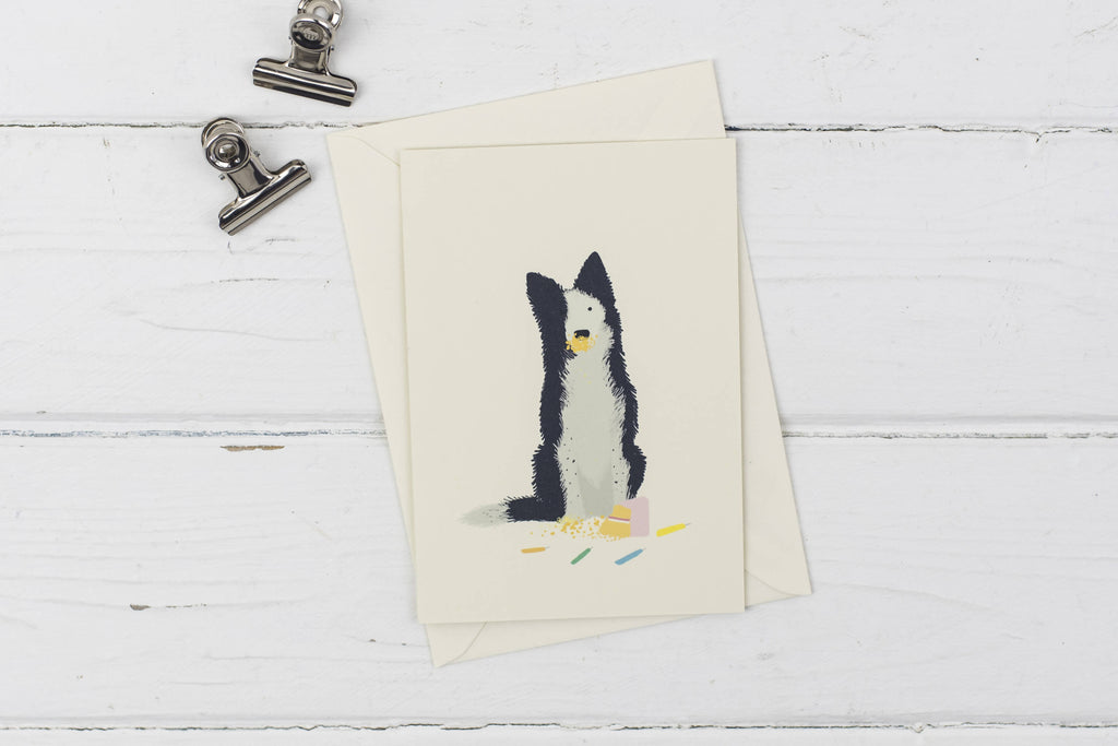 Naughty Collie birthday greetings card