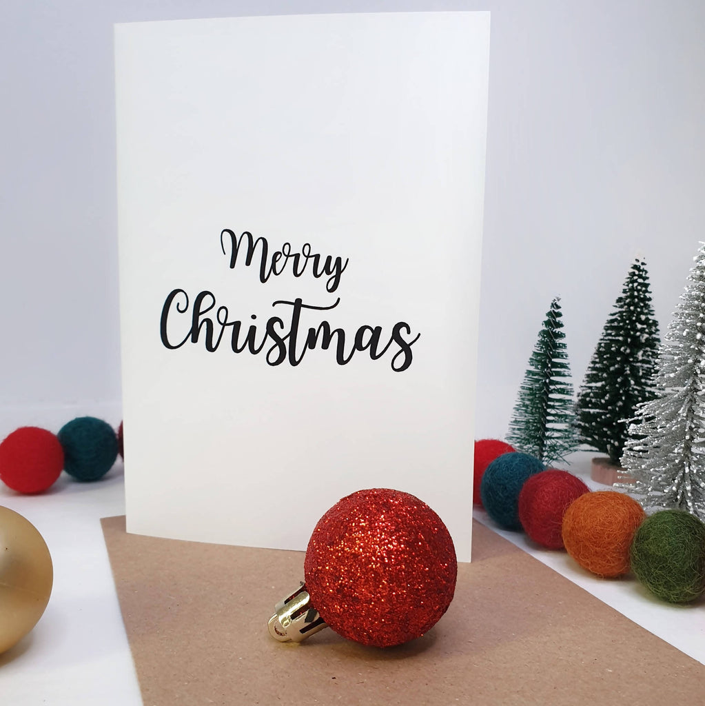 Merry Christmas - A6 Monochrome Typo Greeting Card