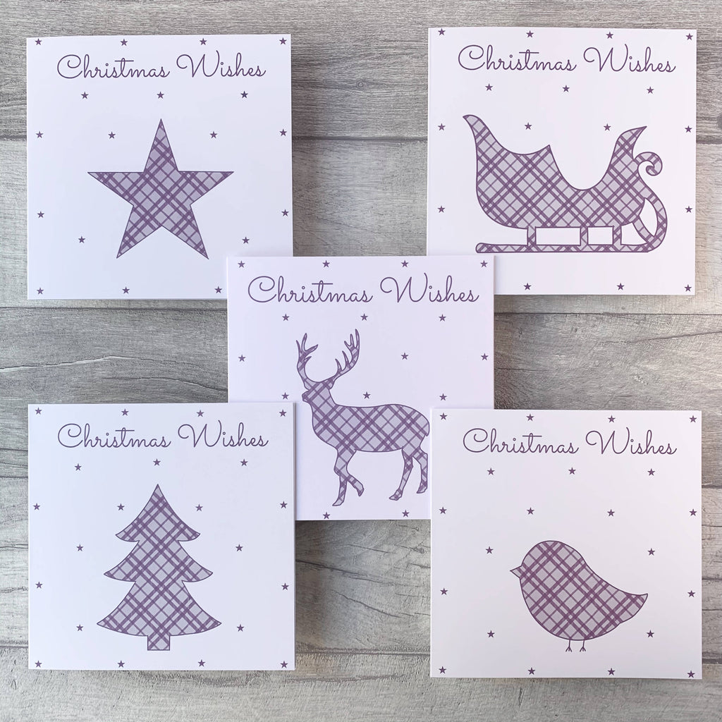 Tartan Christmas Card Pack available in 5 colour pack options