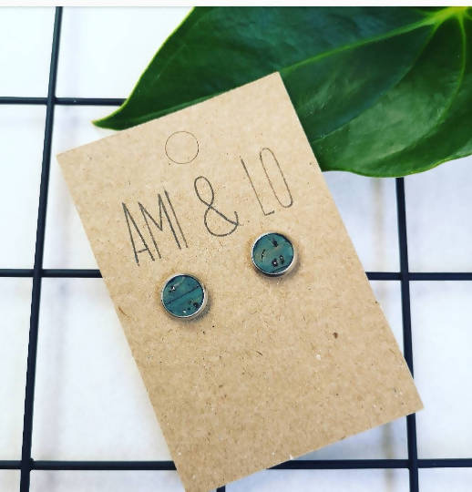 Ocean cork leather stainless steel studs, Ami and Lo, Andsotoshop