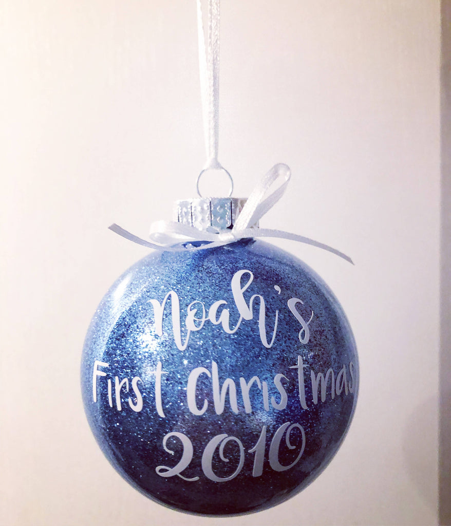 Baby's First Christmas Personalised Glitter Bauble