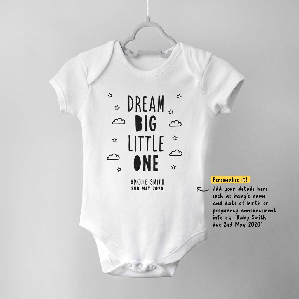 Dream Big Little One Personalised Baby Bodysuit