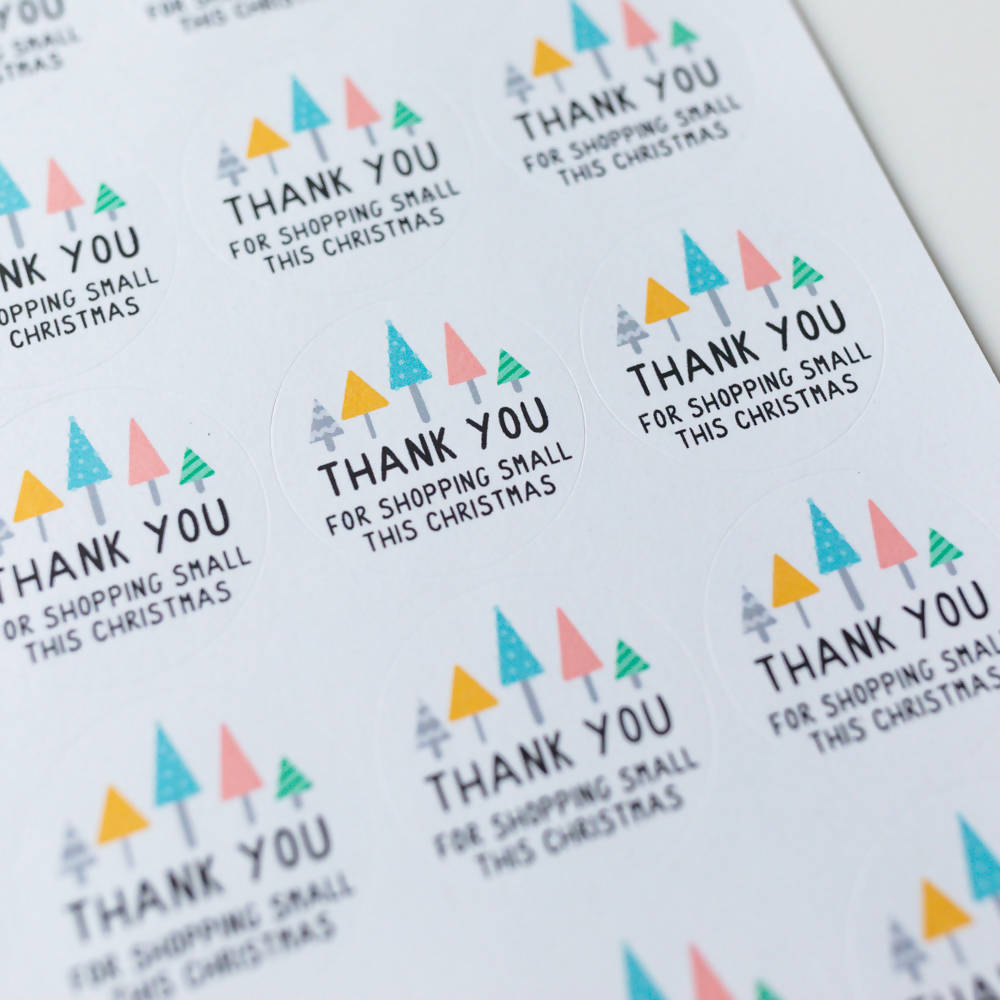 35x Thank You For Shopping Small This Christmas Stickers, Eco Friendly